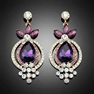 1Pair New Fashion Lady Drop Crystal Purple Women Jewelry Dangle Earrings