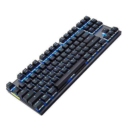 xldiannaojyb 87PCS KeyCAPS Teclado inalámbrico Modo Dual Teclado mecánico Verde/Eje Rojo Teclado Alto (Axis Body : Red Switch, Color : Black)