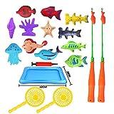 Juguete de pesca magnético, 18 UNIDS Color Plástico Peces Flotantes Aprendizaje Educativo Jugar Juego de Pesca de Doble Polo Set Para Niños Fiesta en la Piscina en la Hora del Baño