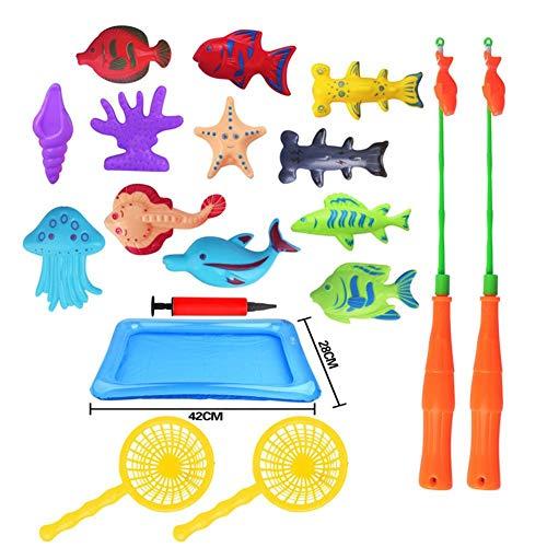 Magnetische Angeln Spielzeug, 18 STÜCKE Farbe Kunststoff Schwimmende Fische Lernen Bildung Spielen Doppel Pole Fishing Game Set Für Kinder Badezeit Pool Party