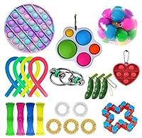 フィジェットトイセット 知覚玩具パック 子供 大人用 フィジットおもちゃパック ストレス解消 不安解消ツール シンプルなディンプル付きフィジェットパック (13 # 22個)