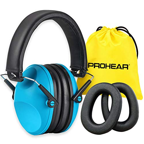 PROHEAR 032P Kids Ear Protection Earmuffs NRR 25dB Safety Noise Reduction Ear Muffs for Childrens Adjustable Headband Ear Defenders for Shooting Range Hunting Season Airports Fireworks  Blue