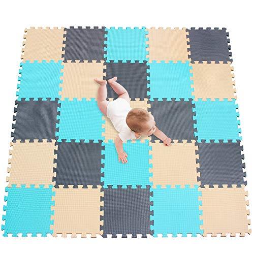 meiqicool Puzzlematte   Sanfte Baby-Bodenmatte   Kinderspielteppich Spielmatte Spielteppich Schaumstoffmatte Kinderteppich 142 x 142 cm Schutzmatte 25 Stück HJL