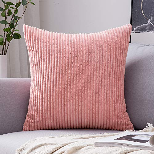 MIULEE Corduroy Soft Solid Decorative Square Throw Pillow Covers Cushion Cases Pillow Cases for Couch Sofa Bedroom Car 26 x 26 Inch, Pearl Peach