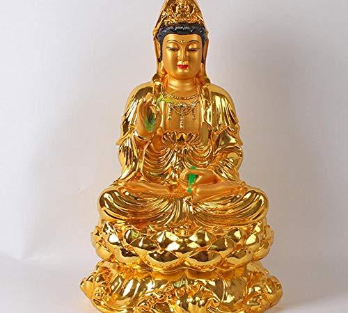 DQQQ Kupferstatue Guanyin Bodhisattva Buddha 16 Zoll Goldener Körper Sprühharz Glasfaser Wohnmöbel