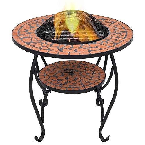 Feuerschale 68x68x60 cm Garten Terrasse Feuerstelle Keramik mit Grillrost, Schürhaken & Schutzgitter, Fire Pit für Heizung BBQ, Feuerschalenmosaik...
