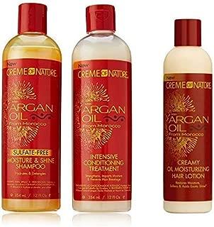 Creme of Nature Argan Oil Trio Set (Moisture & Shine Shampoo, Intensive Conditioning Treatment, Oil Moisturizer)