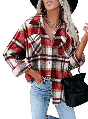 Dokotoo Womens Vintage Plaid Button Down Shirts Retro Checked Roll Up Long Sleeve Blouses Tee Cardigans Juniors Oversized Turn Down Collar T-Shirts Outerwear Work Red XL