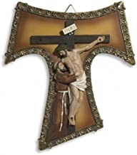 Saint St Francis of Assisi Tau Cross 9 Inch Resin Home Chapel Decoration Wall Crucifix