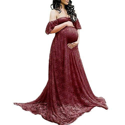 IBTOM CASTLE Damen Elegant Schwanger Schwangerschafts Fotoshooting Lange Chiffon Spitze Brautkleid Maxi Umstandskleid Kleid Burgund XL