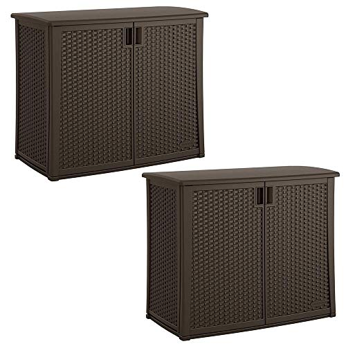 Suncast Elements 97 Gallon Backyard Oasis Storage Entertaining Station (2 Pack)