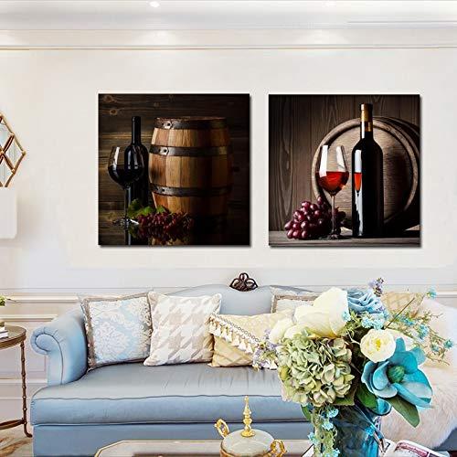 Plakate und Leinwanddrucke Wandkunst Gemälde Rotweingläser und Flaschen Wohnzimmerdekoration Gemälde,Rahmenlose Malerei,40X40cmx2