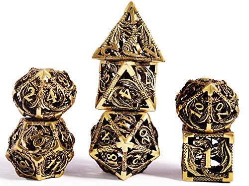 Schleuder D&D Dadi Set, 7 Poliedrici Dice da Gioco per Dungeons&Dragons, Set Dadi Metallo Vuoto Forma di Drago, Dadi da Gioco Rpg Dungeons Dragons Gioco da Tavolo (Oro Bronzo)