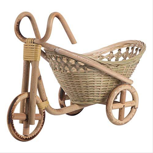 GJDBBLY mand van bamboe, handgemaakte geweven wikkel, riemmand, rotan, voor fruit en brood, decoratief fietscadeau