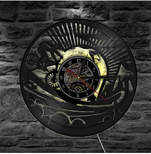 OH Wall Clock Mountain Bike Vinyl Wall Clock Unique Retro Wall Clock for Home Decor Gift Bicycle Sports Lovers Travel Art Clock Unique Gift/No Led