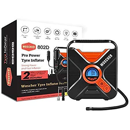 Woscher Pro Power 802D Digital Car Tyre Inflator Air Pump with Digital Display, Auto Shutoff