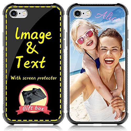 AIPNIS Cover Personalizzata per iPhone 6/6s, Cover in Vetro Temperato per Regalo Fotografico Fatto Su Misura, Stampa HD Fai-da-te a Prova di Caduta