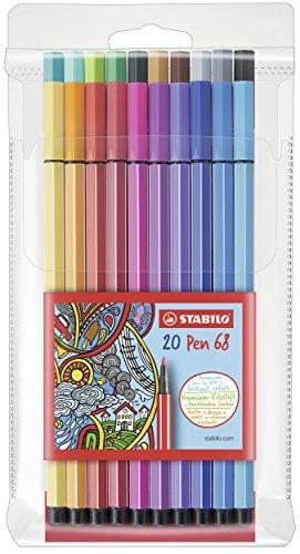Premium-Filzstift - STABILO Pen 68 - 20er Pack - mit 20 verschiedenen Farben