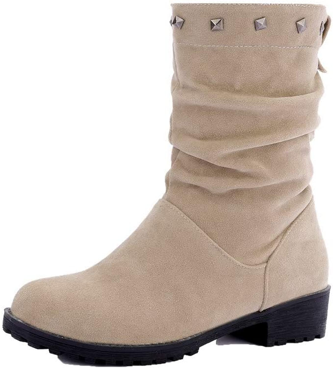 AmoonyFashion Women's Frosted Low-Top Solid Pull-On Low-Heels Boots, BUTXT011443
