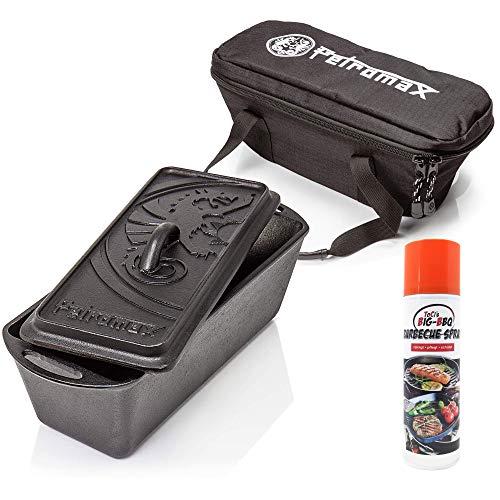 ToCi Petromax Kastenform k4 Starterset mit Deckel inkl. Tasche und Big-BBQ Pflegespray für Grill und Gusseisen
