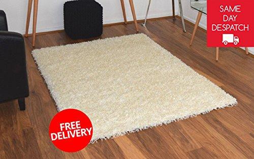Bravich 120x170cm Cream Shaggy Rug Large Shag Pile Thick 5cm Living Room Area Mat Floor Modern Bedroom Anti Shed Carpet