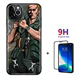 Algood Store Case for Apple iPhone 11 case with Tempered Glass Commando Arnold Schwarzenegger Cannon Design iPhone 11 case (Grey, iPhone 11 6.1'' case)