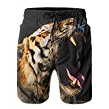 yting Tiger Open Big Mouth Men's con Bolsillo Shorts de Playa de Secado rpido Cintura Diseo elstico Swim Trunks Swimwear Home Shorts