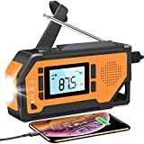 Emergency Weather Radio - Hand Crank Solar Portable Survival Radio AM/FM NOAA with Large LCD Display,Flashlight,2000mAh Battery Operated,Phone Charger,SOS Alert,Camping Can Opener