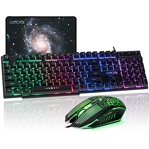Gaming LED Backlit Keyboard and Mouse Combo CHONCHOW USB Wired Rainbow Key board Mice set Mechanical Feeling compatible with PS4 PC Windows Mac Black