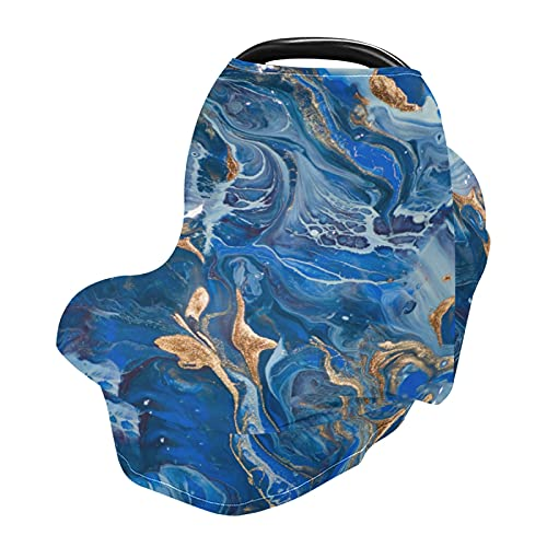 xigua Fundas suaves para asiento de coche de bebé, toldo para cochecitos de bebé, cubierta de delantal para lactancia, color azul oscuro