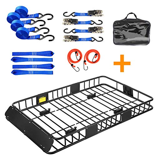"""Leader Accessories Roof Rack Cargo Basket Set, Car Top Luggage Holder 64""""x 39""""x 6"""" + 3' x 4' Super Duty Bungee Cargo Net Stretches to 6' x 8'"""