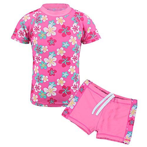 TFJH E Girls Swimsuit Sun Protection Bathing Suit UPF 50+ 200 Pink Flower 116/122