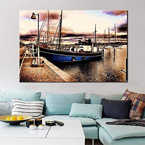 Zangtang landschapsplakkaat en kunstdoek canvasdoek, de klassieke abstracte boot in frameloze boekenwoonkamerwanddecoratie Malt