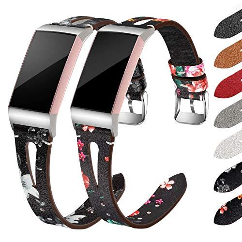 Supore 2 Pezzi Cinturino Compatibile con Fitbit Charge 3/ Fitbit Charge 4, Cinturino Sostitutivo Cinturino in Vera Pelle per Tracker Charge 3/Charge 4, Donna Uomo