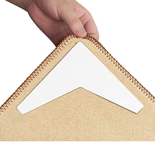 DEAVON Rug Grippers for Area Rugs,V Shape Rug Gripper for Anti Curling, Carpet Gripper,Using Washable Renewable PC Material Strong Sticky, which can be reused After Washing(12PCS)