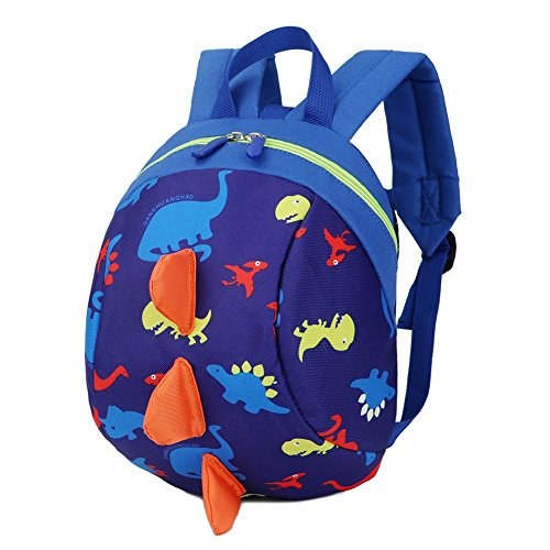 Children Harness Dinasour Rucksack with Anti-Loss Rope, Anti-Packet Loss Backpack, Toddler Kids Rucksack with Reins Outdoor Bag (Blue)