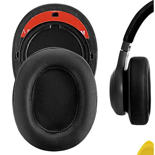 Geekria QuickFit - Almohadillas de piel de proteína compatibles con auriculares JBLs E55BT E5BT, almohadillas de reparación para auriculares (negro)