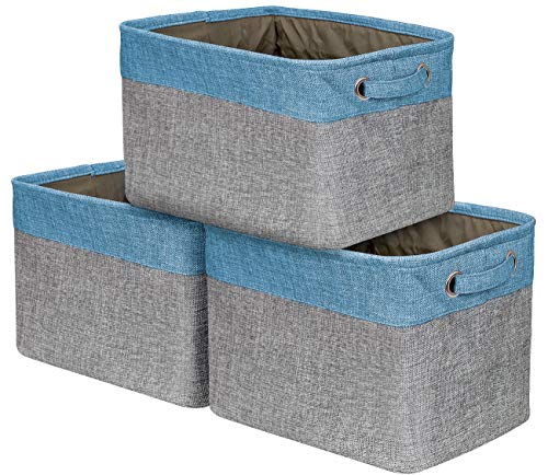 Sorbus Storage Large Basket Set [3-Pack] - 15 L x 10 W x 9 H - Big Rectangular Fabric Collapsible Organizer Bin Box with Carry Handles for Linens, Towels, Toys, Clothes, Kids Room, Nursery (Aqua)