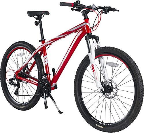 KRON XC-100 Hardtail Aluminium Mountainbike 27.5 Zoll, 21 Gang Shimano Kettenschaltung mit Scheibenbremse | 18 Zoll Rahmen MTB Erwachsenen- und Jugendfahrrad | Rot & Weiß