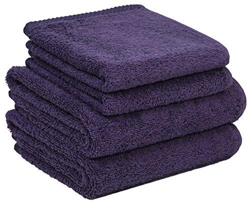 Home and Plan Quick Dry Premium 100% Turkish Cotton Hand Towels & Wash Cloths | 4-Piece Set, 2 Hand Towels (16x27), 2 Wash Cloths (12x12) - Plum (S3)