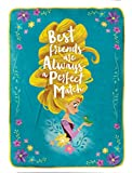 Jay Franco Ever Tangled Measures 62 x 90 inches, Kids Bedding Features Rapunzel & Pascal-Fade Resistant Super Soft Fleece-(Official Disney Product), Teal/Gold Blanket