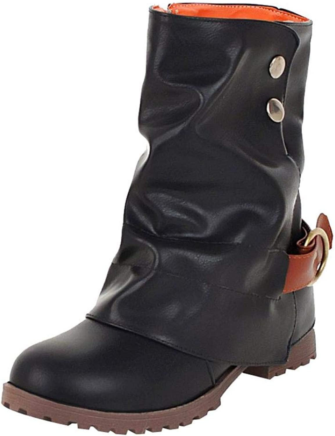 Women Warm Mid Calf High Boots Buckled Strap Artificial Leather Patchwork shoes (US 6.5, Black)