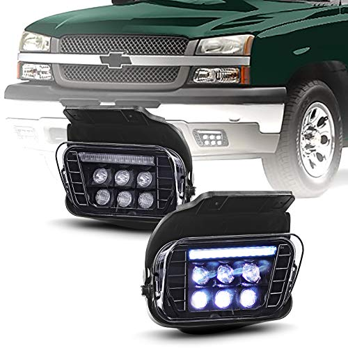Tecoom LED Fog Lights with Daytime Running Lamps Compatible with 2003-2007 Chevrolet Avalanche Silverado 1500/2500/3500 Classic