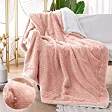 jinchan Throw Blanket Pink Star Foil Soft Faux Rabbit Fur Coverlet Fluffy Throw for Couch Recliner Sofa Bed Living Room Nursery Decor Travel Blanket Farmhouse Gift for Kids Boys Girls 50x60 Inch