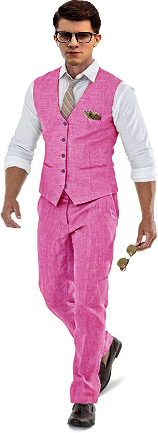 Sales of SALE items from free new works Casual Linen Pink Men's 2 Piece Gro Fit Wedding Suits Slim