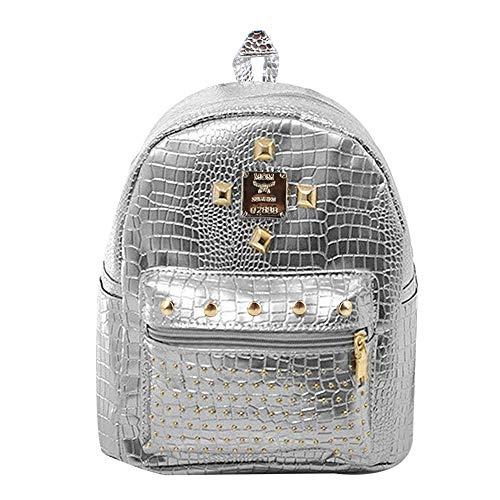 La Haute - Mochila de moda para mujer, diseño de remaches, cristal, plata (Plateado) - LHTE-406