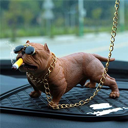Pevfeciy Deko Skulpturen Statue Figur Bully Pitbull Hund Auto Innendekoration Dashboard Ornament Mode Lustige süße Dekoration Auto Zubehör Car Decoration,D