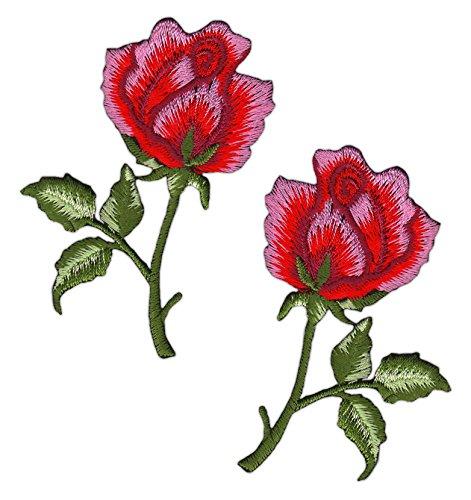 Blumen Rose Rot Rosa Set 2 Stück Aufnäher Bügelbild
