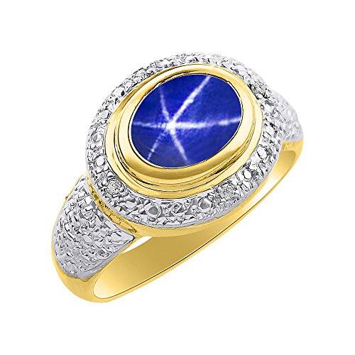 Juego de anillos de diamantes y estrella azul con zafiro en oro amarillo de 14 quilates, halo de diamantes, piedra de nacimiento de color
