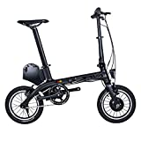 Sava E0 Bicicleta Plegable electrica Ebike, 14 Pulgadas E-Bike de Carbono 36V/180W Engranaje Fijo Sola Velocidad Urban Track Mini City Bicicleta Plegable con Faros